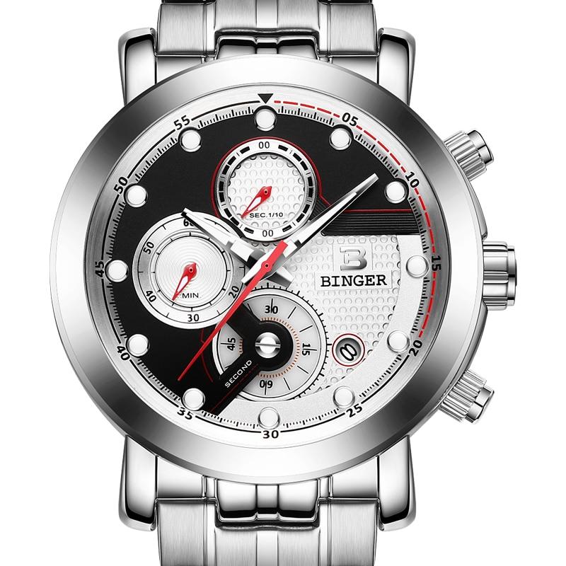 Relogio Masculino BINGER Men Watches Top Brand Luxury Chronograph Quartz Watch Men Luminous Men Wrist Watch reloj hombre B9017M3 стоимость