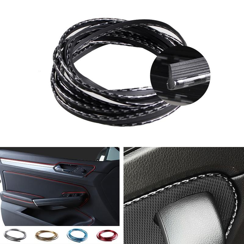 Car Interior Moulding 5M Door Panel Edge Center Control Dashboard Protector Strip Decorative Stickers Carbon Fiber Style /Silver