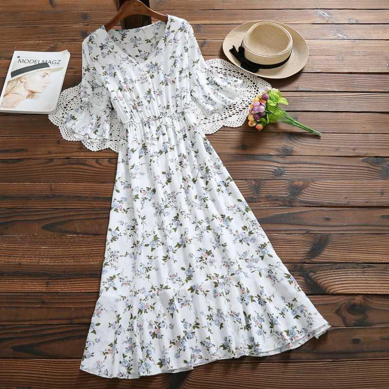 22e81fea05 Mori Girl 4 Pattern Summer Women Long Pleated Dress V Neck Print Cotton  Robe Longue Femme