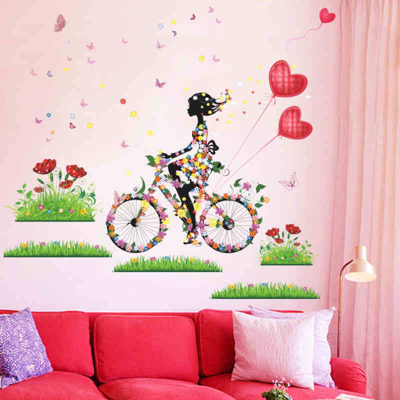 Colorful Flower Girl Butterfly Wall Stickers Home Decor Living Room Bedroom Decoration Accessories PVC Mural Wall Art DIY Poster in Wall Stickers from Home Garden
