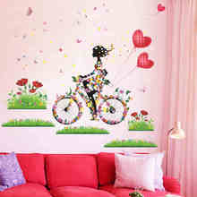Colorful Flower Girl Butterfly Wall Stickers Home Decor Living Room Bedroom Decoration Accessories PVC Mural Art DIY Poster