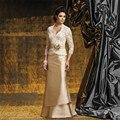 Мода элегантный шампанское 2017 3/4 рукава мать Невесты платья с курткой аппликации кружева женщины платье для официального партии