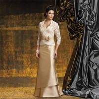 fashion elegant champagne 2017 3/4 sleeves Mother of the Bride dresses with jacket appliques lace women gown for formal party