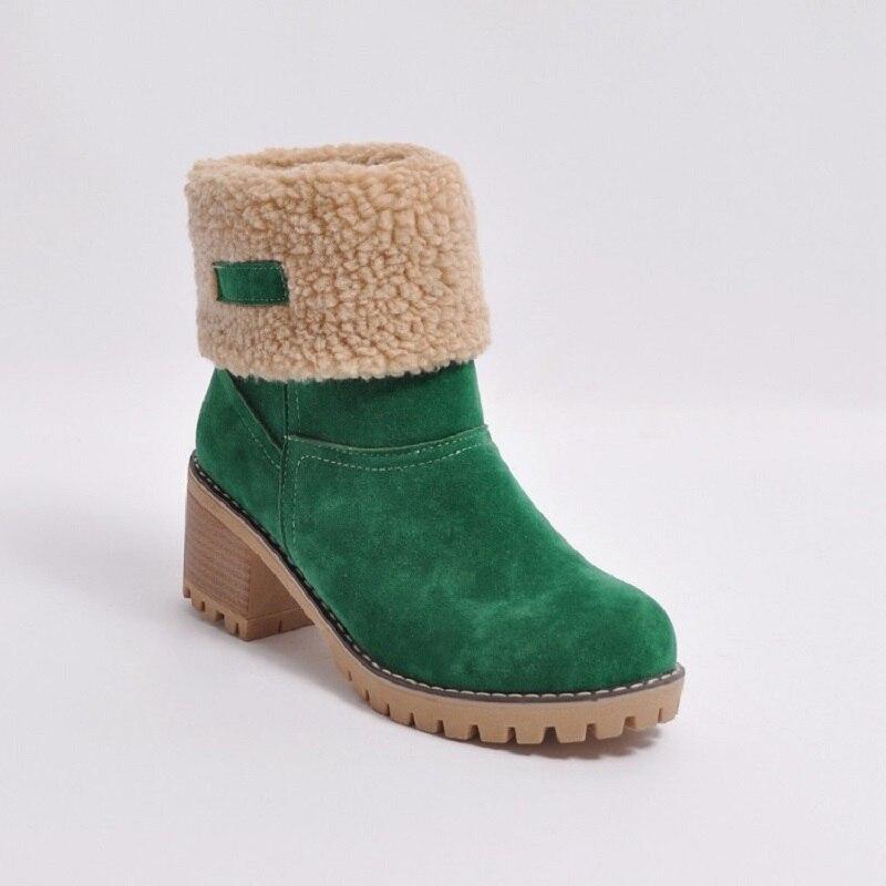naranja Invierno Negro Tacones Nuevas Nieve Botas Altos verde De Caliente 2017 gris Piel Zapatos Mujeres Cuadrados Moda xaCRSwwqI