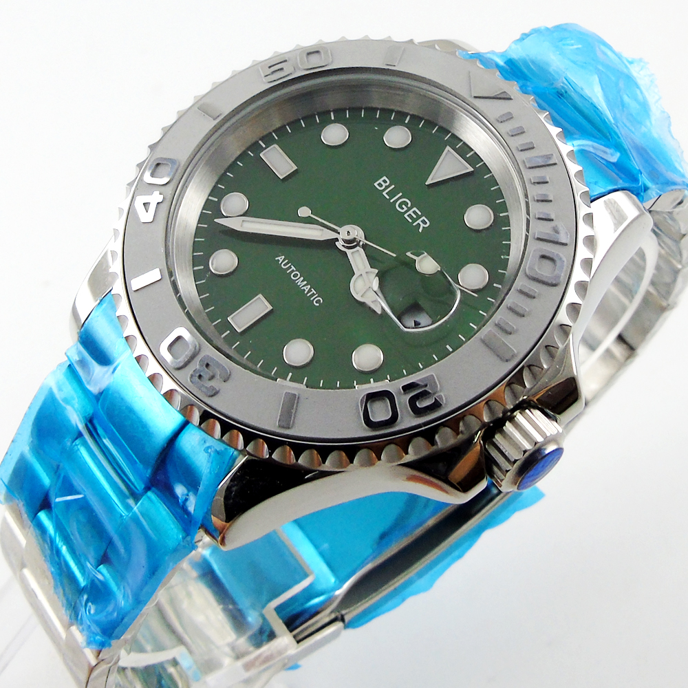 лучшая цена Bliger 40mm green dial date Ceramics Bezel luminous saphire glass Automatic movement Men's watch