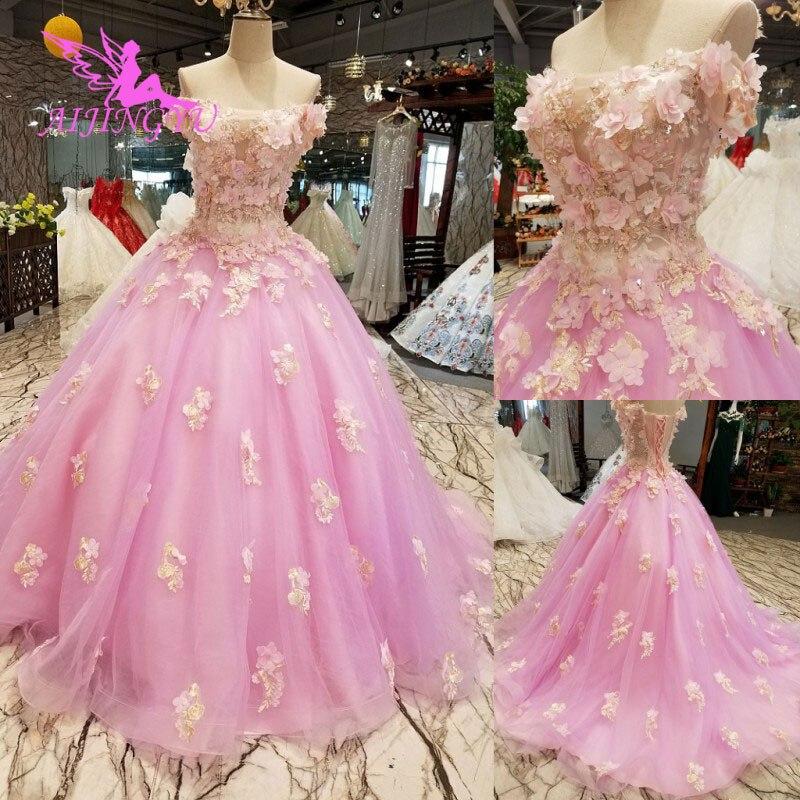 AIJINGYU robes de mariée Junior robes uniques mariée achats en ligne Designers robe de mariée robe de mariée avec luxe détachable - 2
