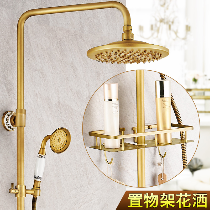 Shower Faucets Shower Equipment Cold And Hot Mixer Faucet Shower Tap Set Bathroom Antique Sprinkler Suit All Copper Vintage Antique Bronze Shower Faucet