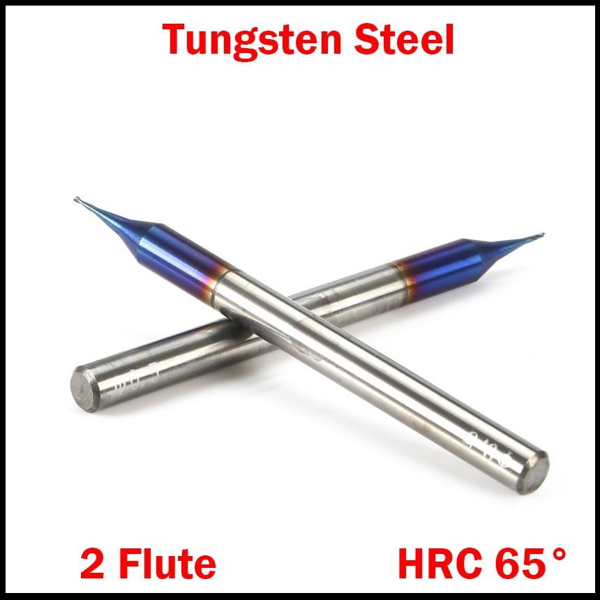 0.1mm 0.2mm 0.3mm Cutting Edge Diameter HRC65 Tungsten Carbide 2 Flute Micro CNC Tool Router Bit Flat End Mill Milling Cutter