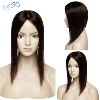 SEGO 12 Inches Straight Intermediate Silk Base Hair Topper Pure Color Toupee Hairpieces for Women 100% Real Human Hair 60g
