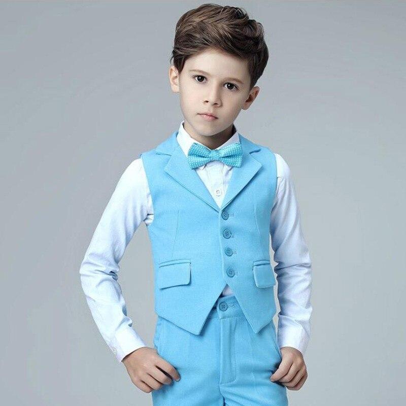 Boys vest suits set vest pant shirt tie kids wedding Party Suits vest costumes little host performance clothing (3)