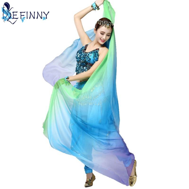Novità Gradiente Velo Scialle Viso dello scialle dell'involucro Della Sciarpa di Modo Delle Donne di Danza Del Ventre Ventre Bollywood Costume di Seta-like