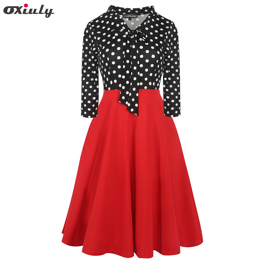 Spring Women Elegant Bow Tie Polka Dot Patchwork Pleated Pockets Work Business Office Party Fit and Flare Skater A line Dress in Dresses from Women 39 s Clothing