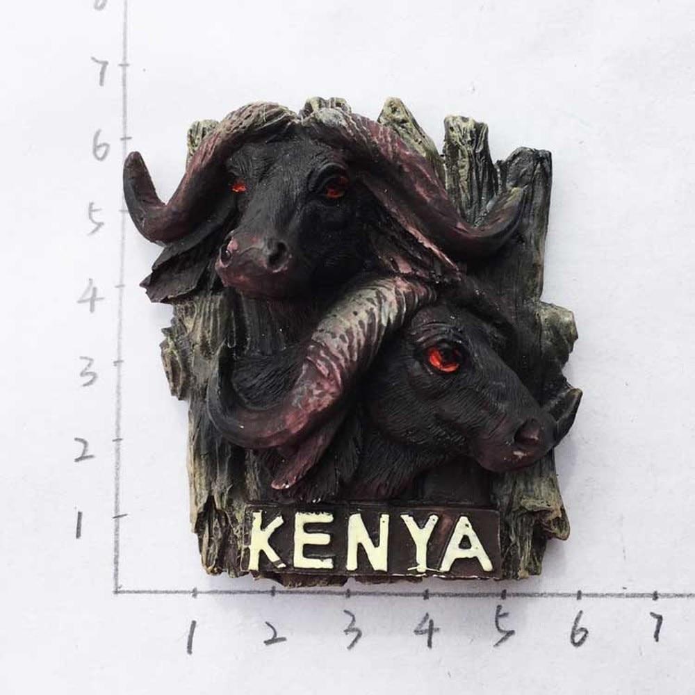 US $3 95 20% OFF|Wild Africa Kenya Bison Fridge Magnets Tourist Souvenir  Refrigerator Magnetic Sticker Decor imanes para refrigerador Crafts Gift-in