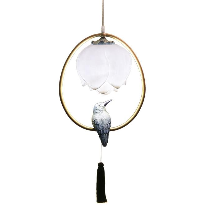 Chinese style pendant lamp resin Lotus bird decorations oval lighting bedroom living room study dining room loft chandelier|wood stick|stair floor|wooden brain teaser puzzle solutions - title=