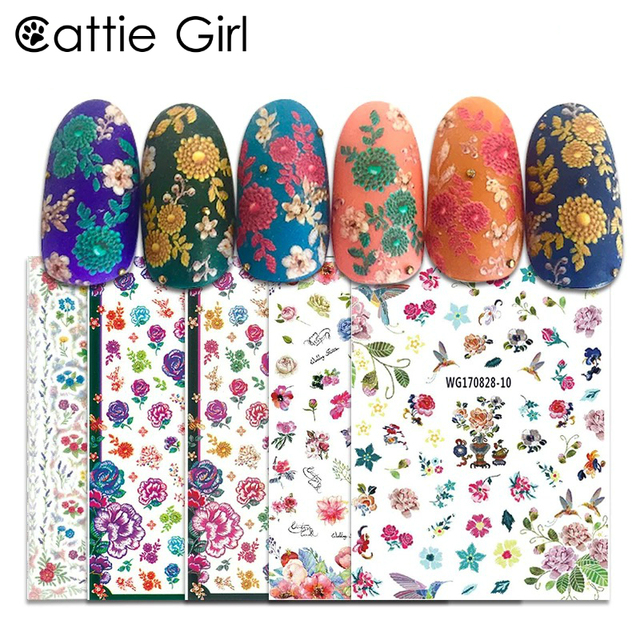 1 Sheet Flower Bee 3D Nail Art Transfer Stickers Japanese Nail Art ...