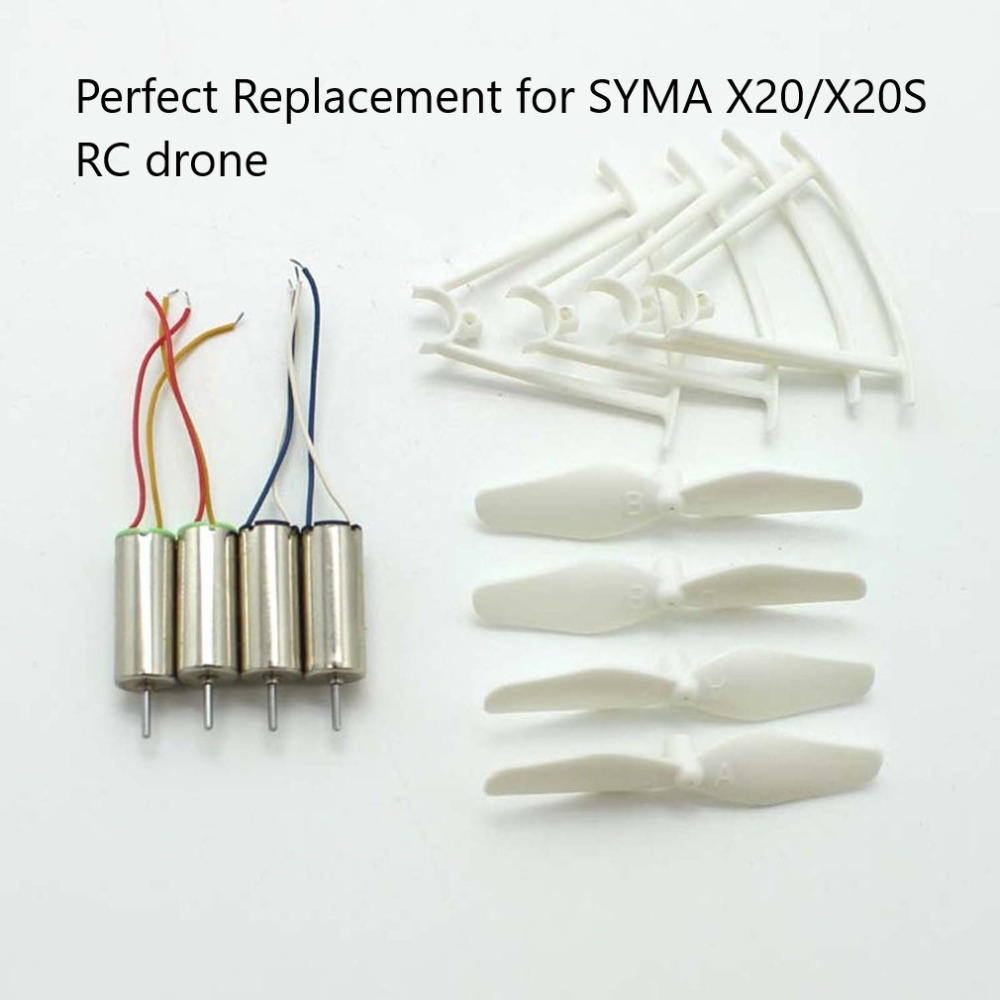 4pcs RC Drone <font><b>Motors</b></font> CCW CW Engine <font><b>Motor</b></font> Propellers Blades Protective Rings Drone Spare Parts for <font><b>SYMA</b></font> <font><b>X20</b></font>/X20S Quadcopter image