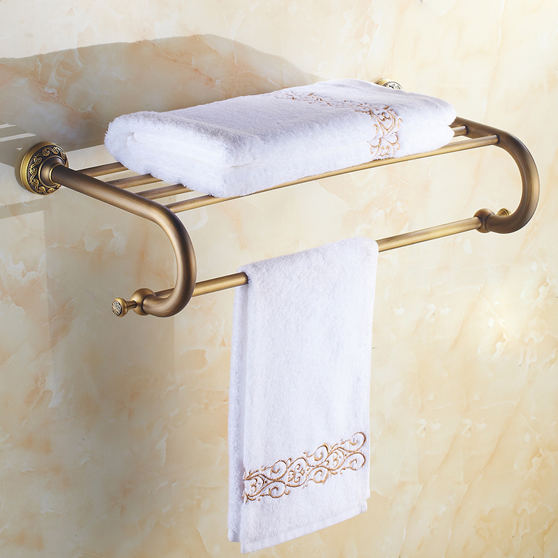 Bathroom Shelf Rack with Towel Bar, Solid Brass Material, Antique Brass Color, 60cm Storage Organizer Shelves, Space Saving bathroom antique brass shelf rectangle double layer multifunction storage shelves with towel bar and hook
