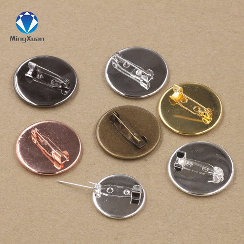10PC 20/25mm Round Bts Pin Settings Brass Blank Pin Brooch Settings Cabochon Base Tray Bezel Cabochons Cameo DIY Jewelry Finding