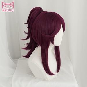 Image 2 - Peluca de Cosplay KDA POP/STAR Akali para mujer, peluca larga y lisa de color morado y rojo, pelo de piel de LOL juego