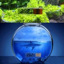 LCD Digital Electronic Aquarium Thermometer Fish Tank 3D Digital Temperature Meter Sticker Fish Shrimp Turtle Gold Silver Ramdon