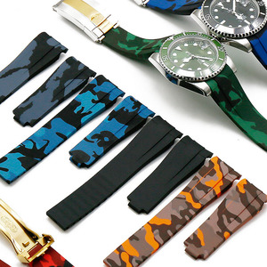 Image 2 - Rubber strap mens camouflage watch accessories for Rolex water ghost GMT waterproof silicone strap female 20mm men watch band