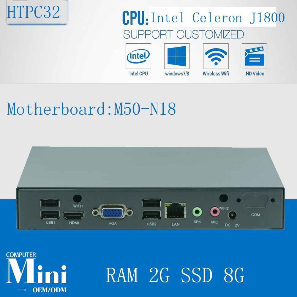 Intel Bay Trail J1800 2.41G Fanless Desktop Computer Case Mini PC X86 Windows DDR3 2GB RAM 8G SSD WiFi 1 Lan HTPC Server HDMI