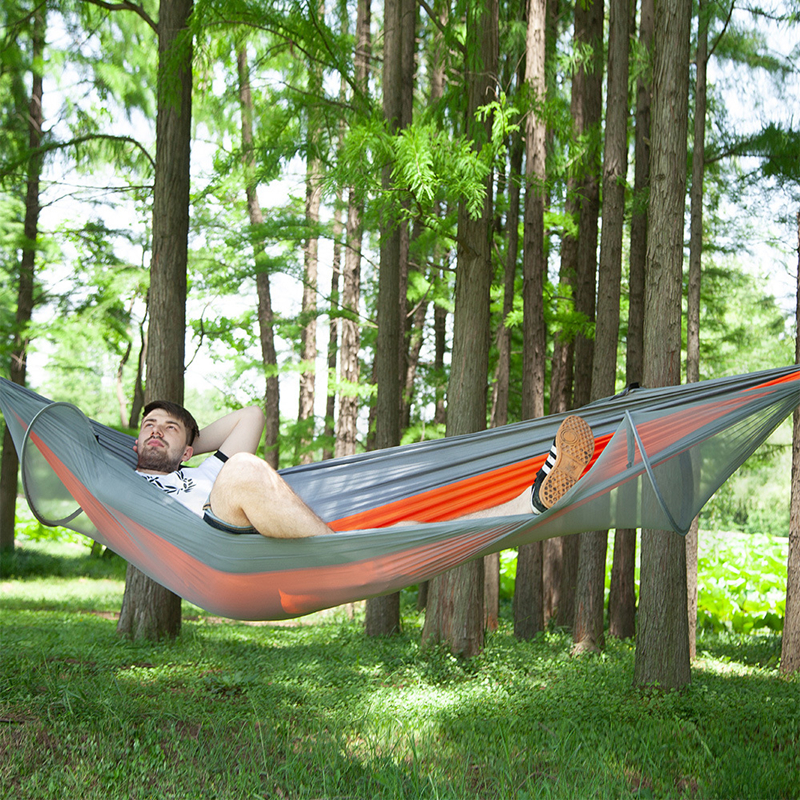 Image 5 - VILEAD Automatic unfolding Hammock with Mosquito Stable Ultralight Portable Hiking Hunting Camping Cot Sleeping Bed 290*140 cm-in Camping Cots from Sports & Entertainment