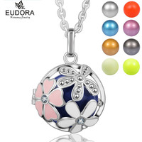 Silver Plated Guardian Angel Caller Pregnancy Jewelry Floral Mexcian Bola Pendant Eudora Harmony Ball Chain Necklace
