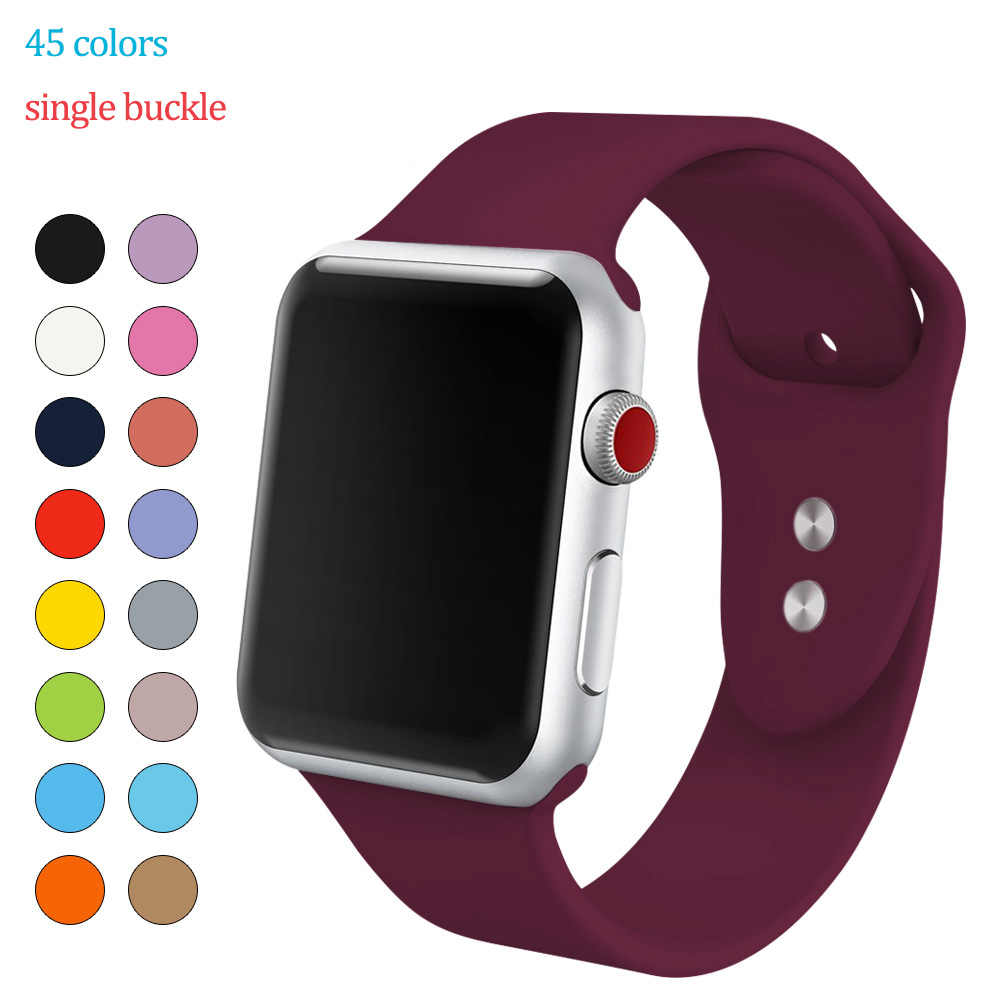 Soft Silicone Replacement Sport Band For 38mm Apple Watch Series4 3 2 1 42mm Wrist Bracelet Strap For iWatch Sports Edition