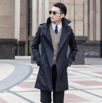 Outerwear 2020 spring autumn double breasted mens trench coats man long coat men clothes slim fit overcoat men plus size S - 9XL