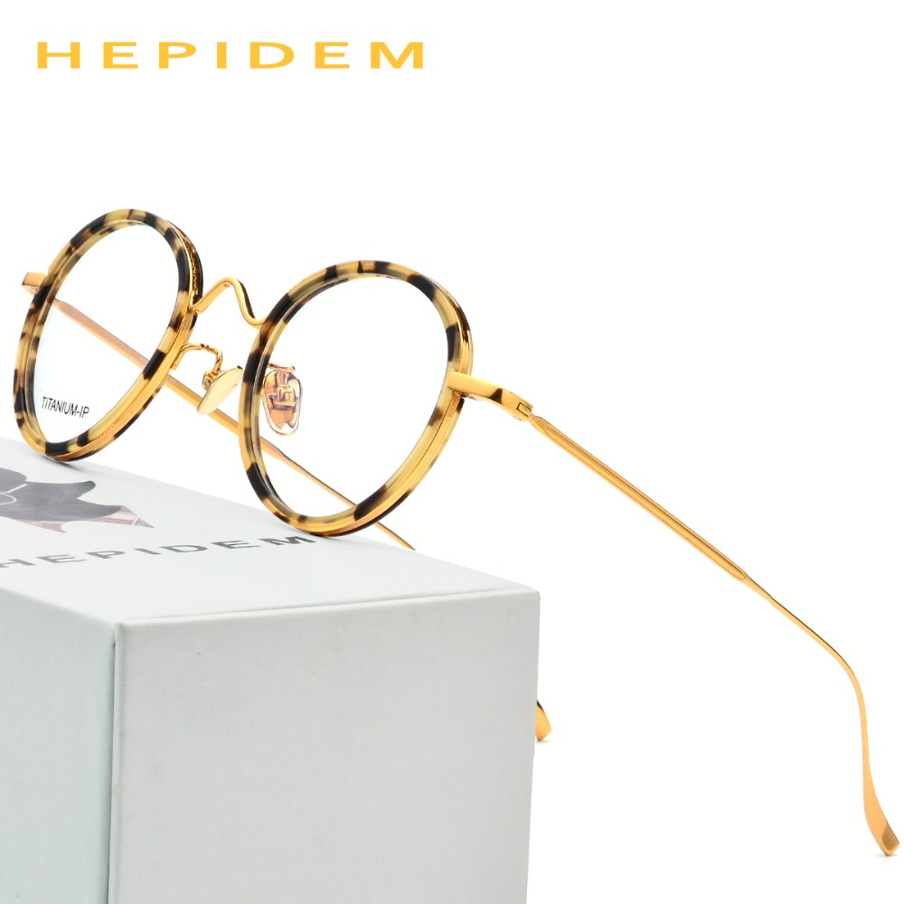 Reines Titan Brille Rahmen Männer Ultraleicht Frauen Runde Vintage ...