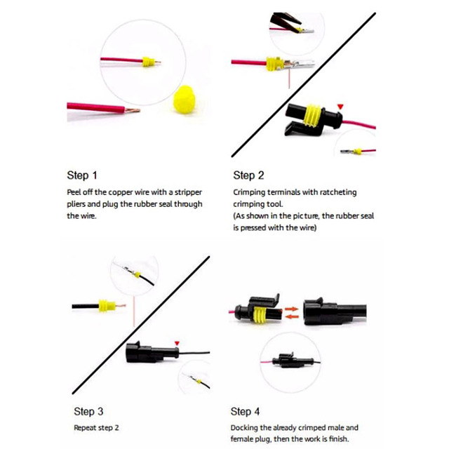 5SETS 1.5 Kit 2 pin 2/3/4/5/6 pin Way Female Male Super Seal  Waterproof Electrical Wire Cable Automotive Connector Car Plug