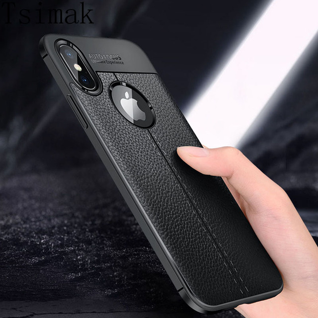 Tsimak For iPhone XS Max Phone Case For iPhone XR Case Cover Luxury Leather Soft Silicone For