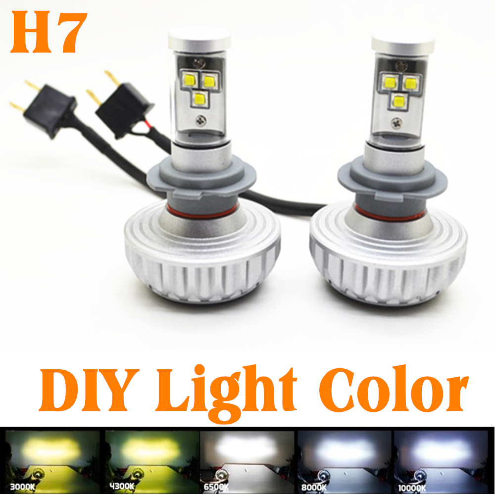 30W H7 CREE LED Headlight Headlamp Auto Conversion Car LED Kit 3000LM DRL Lamp Bulb Light Source Car Styling Light Color 12V-24V 2 pieces h7 cree chip led 40w replacement 7200lm car drl fog auto led headlight conversion driving bulb car light source