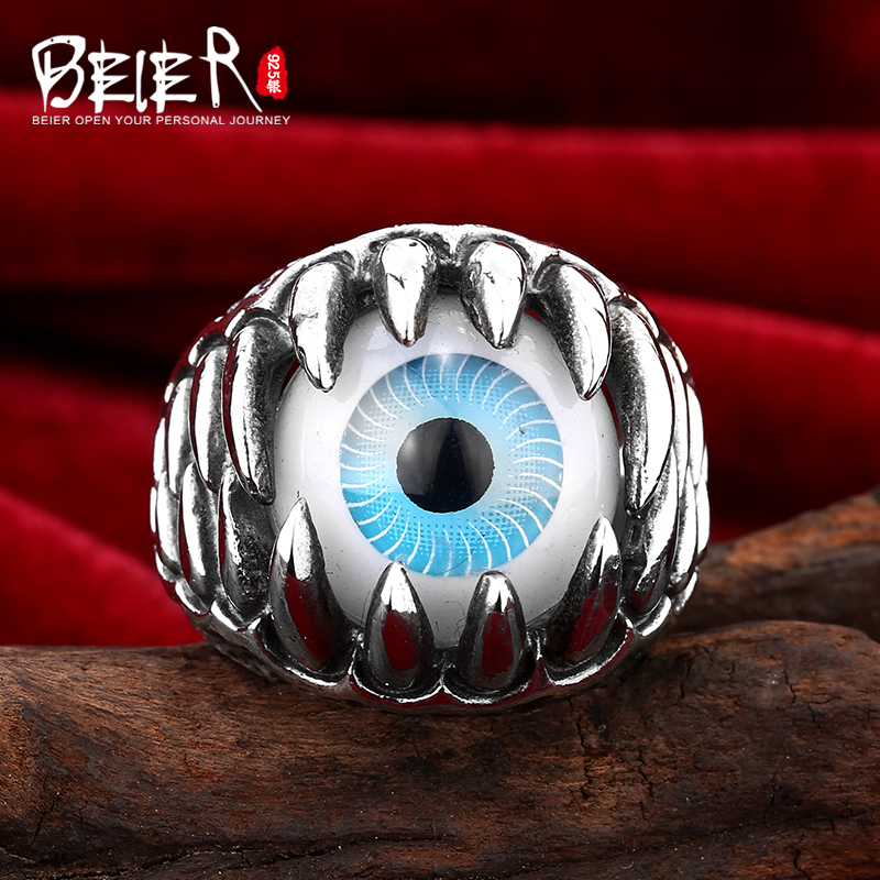 Beier 925 silver sterling jewelry 2015 Mens Vintage locomotive domineering male ring dragons claw blue man ring   D1150Beier 925 silver sterling jewelry 2015 Mens Vintage locomotive domineering male ring dragons claw blue man ring   D1150