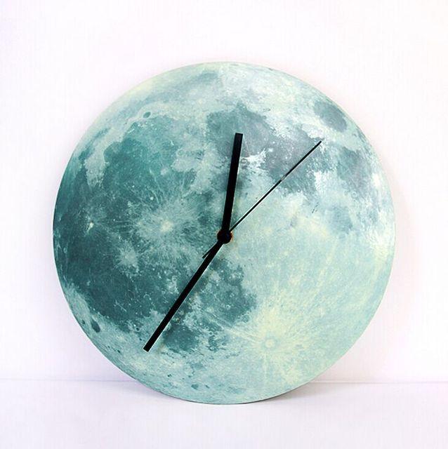 Diy luminous wall clock luminous moon wall clock silent watch wall decoration