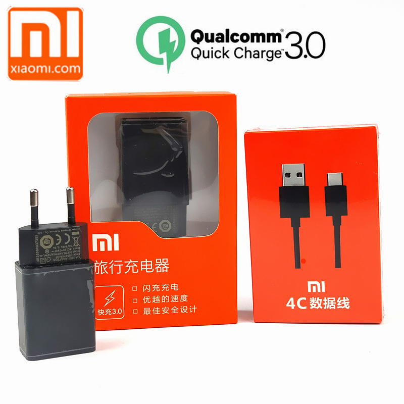 Original Xiaomi QC 3.0 Fast Charger charge wall Adapter Type C Data Cable for Mi5 5x Mix2 Note2 A1 Note 3 EU/US 12V 1.5A ,9V 2A