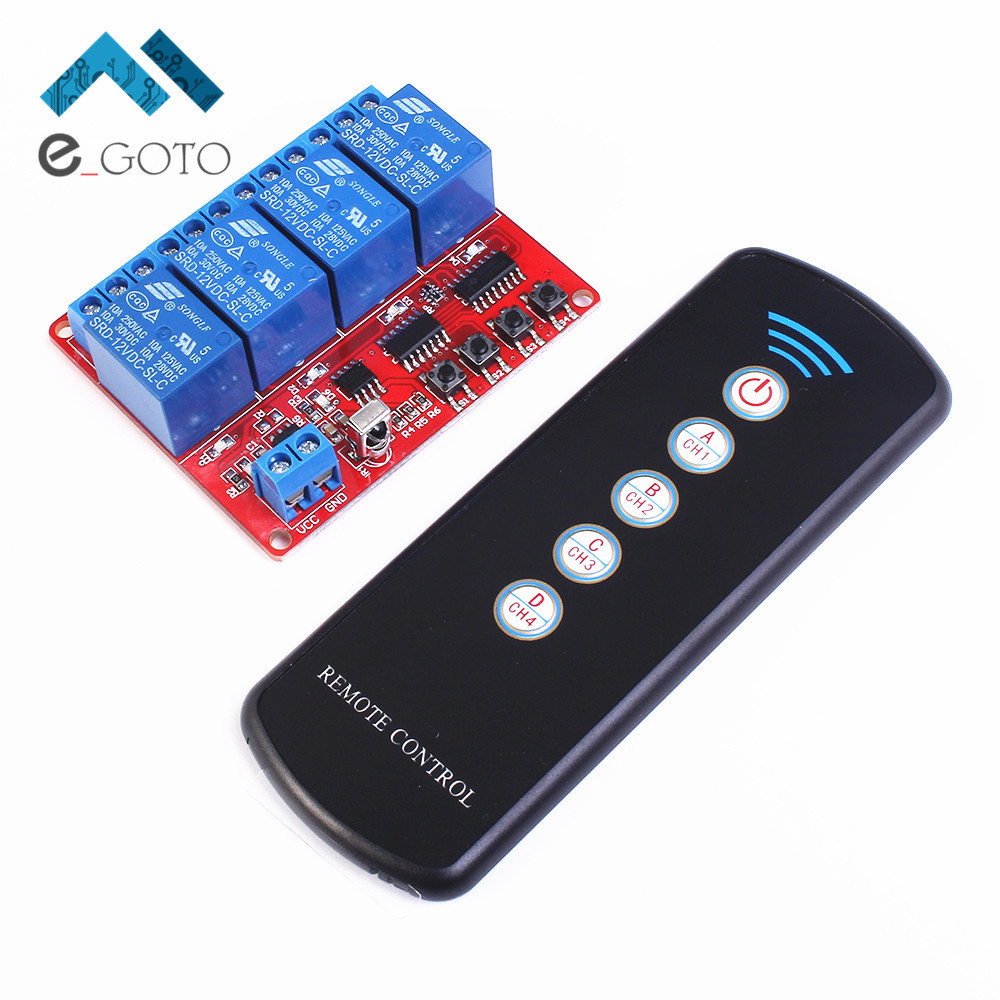 12V 4 Channel IR Infrared Receiver Board Delay Relay Driving Module + 5-Key Remote Controller Self-Lock Interlock Inching Switch