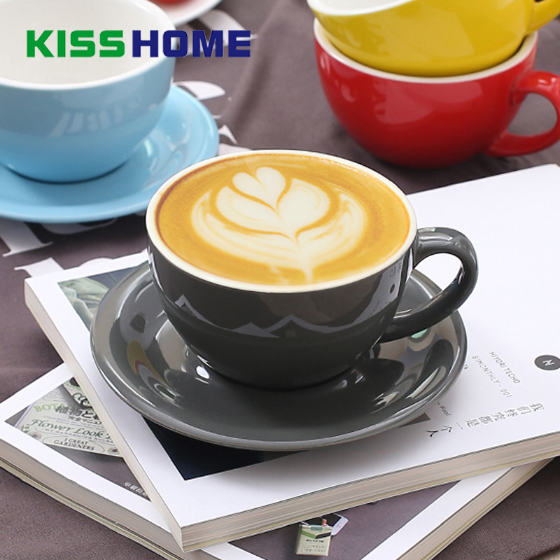 300ml Espresso Coffee Mug High-grade Ceramic Coffee Cup Dish Set Macaron European Style Cappuccino Milk Cups Latte Drinkware