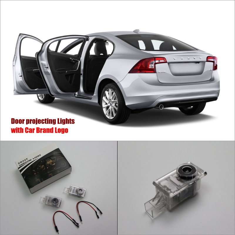 For Volvo S60 2011~2014 Door Ghost Shadow Lights Car Brand Logo LED Projector Welcome Light Courtesy Doors Lamp makita vc2012l