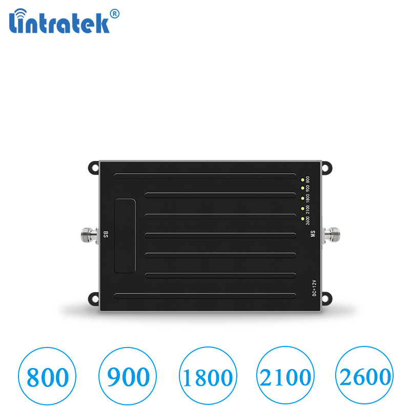Lintratek Five Band Signal Amplifier 800 900 1800 2100 2600Mhz For 2g 3g 4g Lte Booster Gsm Umts AGC Repeater No Antenna #6.8