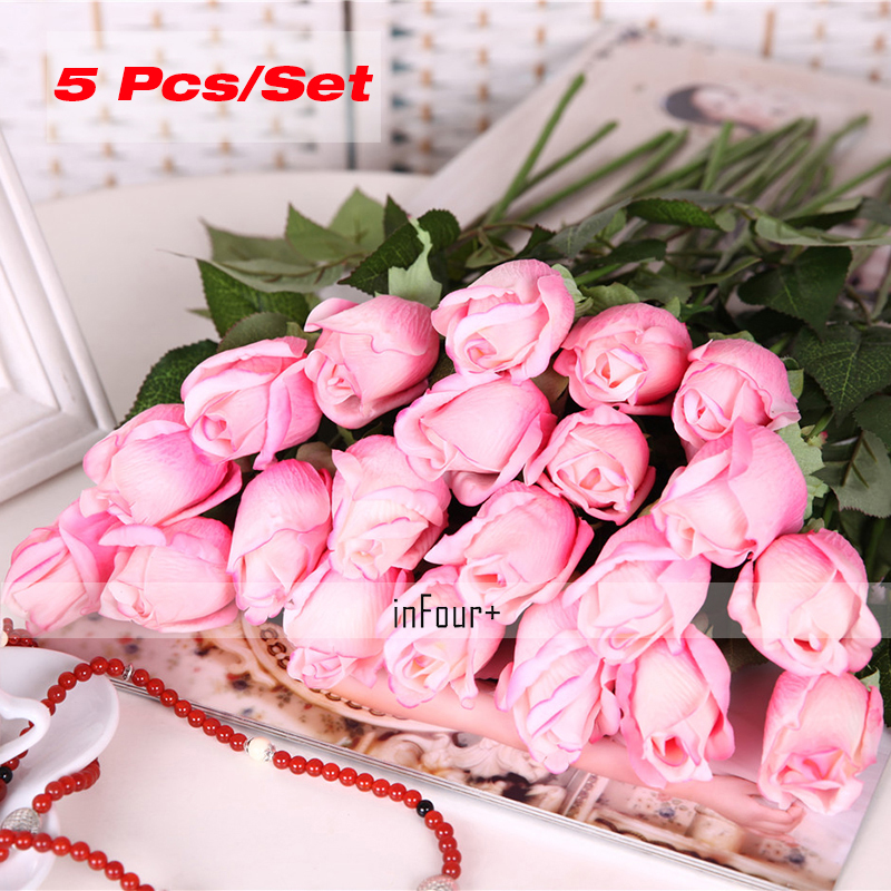Deep Pink Rose Vintage Home Decor Flower Real Touch Rose Silk