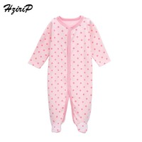 HziriP 2017 New Baby Girl Romper Cute Pink Polka Dot Cotton Infant Rompers Sleepwear Leisure Newborns Clothes Free Shipping