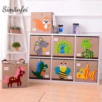 Simanfei Laundry Basket 2019 New Design Cartoon Kids Clothes Basket Cotton Linen Folding Sundries Storage Box Toys Storage Bag