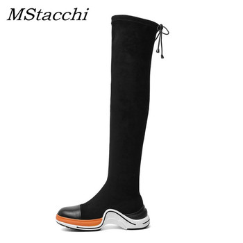 MStacchi Fashion Elastic Fabric Platform Sock Shoes Woman Mixed Color Thick Bottom Flat Sneakers Sexy Ladies Over Knee High Boot