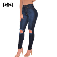 Women High Waist Jeans Plus Size Ladies Pencil Pants Sexy Knee Hole Casual Wear Ripped Denim Jeans Women Vaqueros Mujer