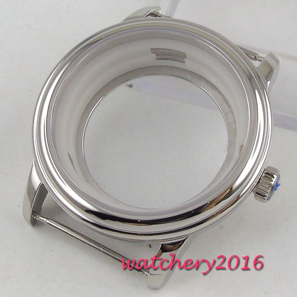 40mm PARNIS Sapphire Glass Steel Watch Case eta 2836 Miyota 8205 8215 Movement