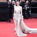Luxo Cristal Frisado Decote Em V Da Sereia Vestido Cannes Film Festival Celebridade do Tapete Vermelho Vestidos 2017 Formal Vestido Abendkleider