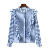 2018 primavera nuevas mujeres de manga larga volantes knited camisa señoras blusa camisas tamaño S, M, L