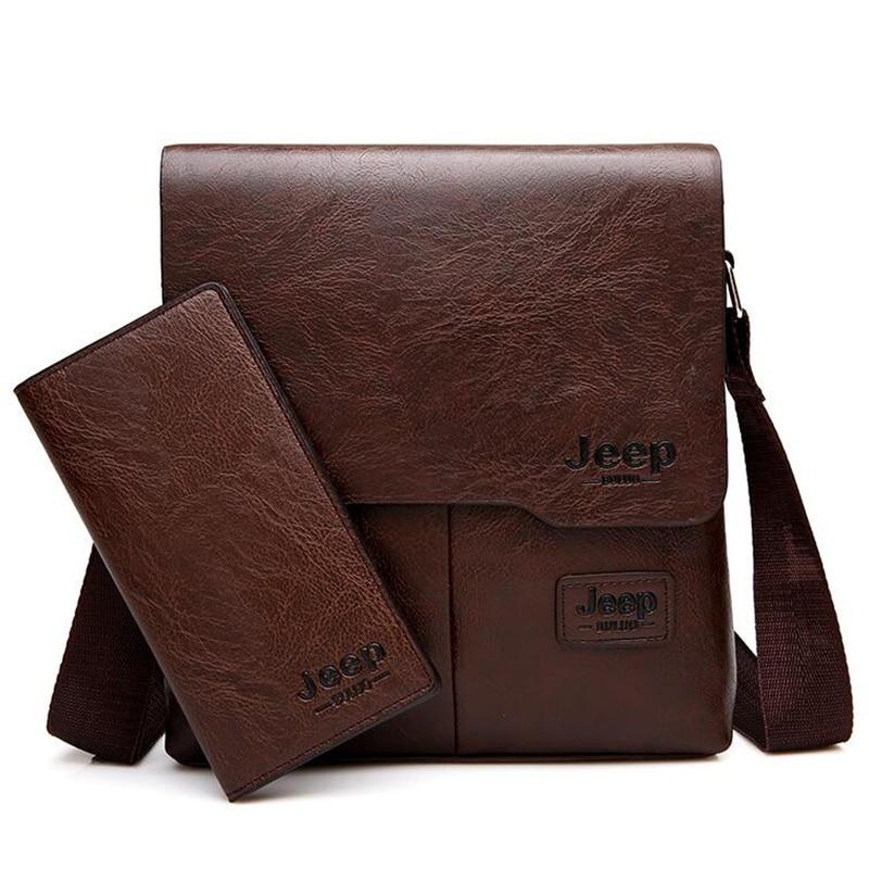 c426aab44b06 JEEP BULUO Man Messenger Bag 2 Set Men Pu Leather Shoulder Bags Business  Crossbody Casual Bag Famous Brand ZH1505 8068